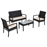 Wholesale outdoor rattan sofas - Outdoor Patio Sofa Set Sectional Furniture Wicker Rattan Deck 40 Black