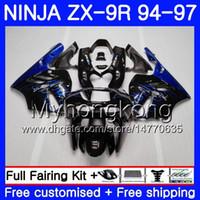 Wholesale 96 kawasaki zx9r online - Body For KAWASAKI NINJA ZX900 ZX9R HM ZX R ZX R CC Blue flames hot ZX R Fairing kit