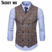 ingrosso giacca arancione-JACKEY WU Gilet da uomo di alta qualità Casual Stripe doppio petto senza maniche Gilet da uomo formale abito da sera completo blu arancione