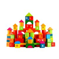Wholesale domino wholesale - 100pcs Wooden Building Blocks Toy Domino Tower Letters Numbers Wood Custruction Block Brick Kids Early Educational Toys
