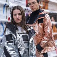 casacos metálicos venda por atacado-18FW Box Logo Metálico Mountain Parka Homens Mulheres Jaqueta Casaco Solto À Prova de Vento À Prova D 'Água Casual Streetwear Blusão Outwear HFYMJK115