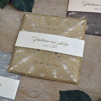 Wholesale wedding invitations inserts - Gold invitation card stock with envelopes and insert cards lace laser cut blank invitation cards for grand event