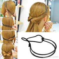 plastikgeflecht stirnband groihandel-Neue Design Doppelwurzel Haarband Braid Elastische Haarbänder für Frauen Kunststoff Stirnband Kopfschmuck Haarschmuck