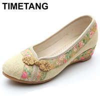 Wholesale old peking shoes resale online - TIMETANG Style Shoes Women Old Peking Flats Chinese Flower Embroidery Canvas Linen Shoes Sapato Feminino Size E190