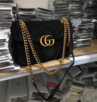 berühmter winter großhandel-HOT Marmont Samtbeutel Frauen berühmte Marken Umhängetaschen aus echtem Leder Kette Umhängetasche Winter Mode Handtaschen Italienisch 2019