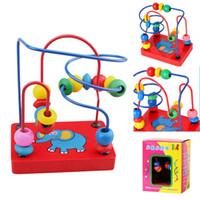 Wholesale Wooden Toys Bead Maze - Wooden Elephant Bead Maze Kids Children Bead Rollercoaster Maze Puzzle Toy