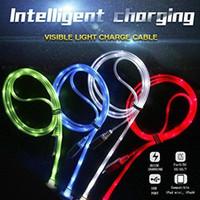 светодиодные usb-кабели оптовых-Светятся в темноте загораются LED Micro USB Type-C синхронизации данных зарядное устройство кабель для зарядки шнур для телефонов Samsung LG Android