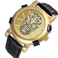Wholesale pirate watches for sale - Preferential Shipping Pirate Skeleton New Design Creative Skull Quartz Mens Watches Luxury Waterproof Leather Wrist Watch Men Sports Watch
