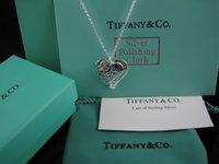 ingrosso contenitore di monili del cuore del metallo-Qualità Celebrity design diamante Collana in argento Argenteria Metallo cristallo Collana a forma di cuore pendente con scatola