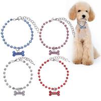 Wholesale large blue crystal pendant - Fashion Crystal Diamante Bone Rhinestone Pendant Pet Necklace Collar Dog Cat Puppy Jewelry 3 Sizes Hot Sale