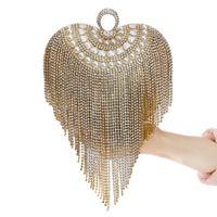 ingrosso frizioni borse da sposa-Cristallo di modo nappa donne borsa diamanti sera partito borsa nuziale festa nuziale a forma di cuore frizioni nero / oro / argento