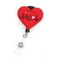 pflege-id-abzeichen inhaber großhandel-roter Herzschlag einziehbare ID-Kartenrolle Abzeichen Halter wunderschöne ultimative Bling Abzeichen Krankenschwester Name Badge Reel