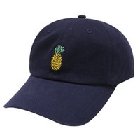 Wholesale Pineapple Patterns - Black Printed Baseball Hats Soft Pineapple Pattern Peaked Cap Easy To Carry Elastic Caps New Arrival 4 5dl B