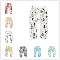 Wholesale Girls Tights Size 3t - Infants cartoon patterns printing pants cute cactus bears watermelon lemon geometry pattern toddlers leggings 4 sizes for boys girls baby