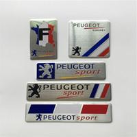 arabalar için spor rozetleri toptan satış-Fransa Ulusal Bayrak Rozeti Ince Alüminyum Etiketleme Amblem Sticker Peugeot Sport için Araba Styling 307 206 408 508 406 3008