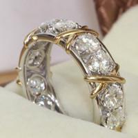 amarillo piedra anillo de oro blanco al por mayor-Choucong Joyería Eternidad Piedra Diamante 10KT Blanco Amarillo Lleno de Oro Anillo de Compromiso de Boda de Compromiso de Las Mujeres Sz 5-11