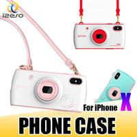 женские футляры для сотовых телефонов оптовых-Стильная сумка сотовый телефон случае мода дизайн камеры с талреп девушка телефон обложка оболочки для Apple iPhone X 8 7 6 плюс