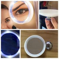 Wholesale led makeup mirror magnifying - Portable Magnifying Makeup Mirror Cosmetic LED Locking Suction Cup Bright Cosmetic Makeup 8x Magnifying Mirror KKA4866