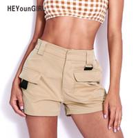 cintura alta calças cáqui venda por atacado-HEYounGIRL Mulheres Cáqui Calções de Cintura Alta 2018 Moda Verão Bolsos Escritório Senhoras Calções Coreano Shorts Casuais Soltas Calças Curtas S916