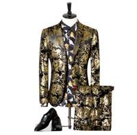 ingrosso smoking oro nero per gli uomini-Abiti da uomo per matrimonio 2018 Luxury Brand Black Gold Tuxedo Jacket Designer Prom Abiti Ultimo Cappotto Mutanda disegni Q303