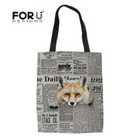 сумочки для печати оптовых-FORUDESIGNS Reusable Shopping Bag Funny  Printing Women Portable Folding Grocery Canvas Shoulder Tote Eco Storage Custom made