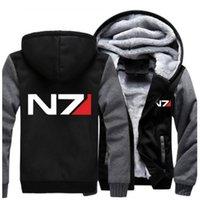 Wholesale Mass Effect Hoodie - Wholesale- Free Shipping USA size Men Women Mass Effect N7 Thicken Hoodie Zipper Coat Clothing Jacket