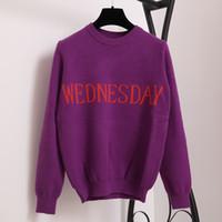 cardigan de punto fino rojo al por mayor-SRUILEE Fashion Week Suéter de mujer Jersey de punto elegante Lunes Martes Miércoles Jueves Viernes Sábado Domingo Runway Pullover