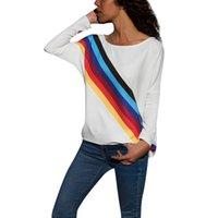 sudadera de moda damas al por mayor-Blusas Mujer de Moda 2018 Mujeres Casual Manga Larga Arco Iris de Impresión Suéter Blusa Camisas Sudadera Moda damas blusas blusa