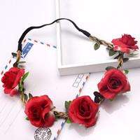 ingrosso foto carine coreane-Cute Girl Hairbands Fashion Rose Flower Headband Headwear Festal Gifts Photo Puntelli Girl Elastic Coreano Floral Hair Accessories Copricapo