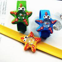 Wholesale animal slaps - Slap Snap Silicone Candy color Wrist Watch Cartoon Cute 3D Marine Animal Pattern Boy Girl Kids Watches
