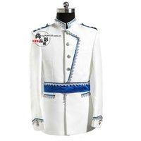 ordu tarzı elbise toptan satış-Erkek Avrupa tarzı mahkeme giyim kostümleri Beyaz prens kostümleri Avrupa Ordusu elbise yıllık toplantı ev sahipliği yapıyor