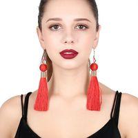 ingrosso ornamenti di cristalli-Ornamenti europei e americani Bohemian stile nazionale orecchini personalità orecchini pendenti cristallo lunga nappa
