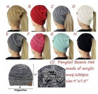 Wholesale wholesale fashion army hats online - 2018 Fashion Women s Girl Stretch Knit Hat Messy Bun Ponytail Beanies Holey Warm Winter Hats New Trendy CC Warm Winter Hat