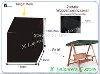 balançoires en bois achat en gros de-Livraison gratuite 2 places en bois balançoire chaise, couverture imperméable à l'eau. W170xD125xH168cm UV protéger la couverture de meubles.