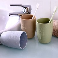 Wholesale green toothbrushes - Cheapest practical life of small objects colorful Plain green plastic couple cups toothbrush cup thick round porcelain and wash cups