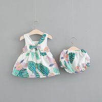 Wholesale short leave dress - NEW girl Clothing Sets round collar full banana leaves print girl dress + short girl Sets summer shirt clothing set