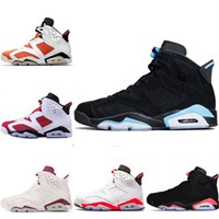 Wholesale maroon shoes - 2018 Designer Mens 6 Basketball Shoes New Trainers UNC Blue Black Cat White Infrared Red 23 Carmine Maroon Women Sports Sneakers Size 36-47