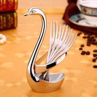 Wholesale Dishes Decoration - Exquisite Swan Rack Fruit Forks Party Decorations Tableware Stainless Steel Forks for Dishes Cake Dessert Snack Decor Gift Set