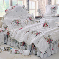 Wholesale Korean Duvet Covers - 4pcs Korean Style Beige Princess Bedding Set Luxury Rose Printing Lace Quilt Cover Ruffles Bedspread Bed Sheet Cotton Queen King Size