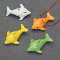 Wholesale ceramic flute ocarina online - Cute Hole Ceramic Dolphin Ocarina Educational Toy Musical Instrument Animal Shape Educational Music Flute Charm yx Z