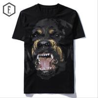 Wholesale Dog Long Sleeve - New High 2018 Punk Men Fashion T Shirts Rottweiler Print T-Shirt Hip Hop Skateboard Street Cotton T-Shirts Tee Dog #603