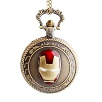antiguo bolsillo de mujer visto al por mayor-Vintage Antique Iron Man para mujer para hombre reloj de bolsillo de cuarzo analógico colgante collar cadena relogio de bolso regalo de bronce