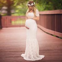 spitze mutterschaft schwangere brautkleid großhandel-Lace Mutterschaft Kleid Kleid Hochzeit Party Trompete Kleider Schwangere Frauen Lange Maxi V-Ausschnitt Spitzenkleid Mutterschaft Meerjungfrau Kleider
