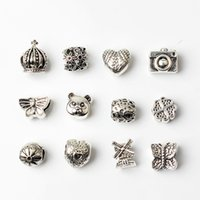pandora boncuk metal toptan satış-12 ADET Karışık Stil Pandora DIY Takı Için Toptan Boncuk Charms Avrupa Bilezik Bilezik Kadınlar Kızlar Iyi Hediyeler