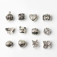 cadeaux européens achat en gros de-12 PCS Style Mixte En Gros Perles Charms Pour Pandora DIY Bijoux Bracelets Européens Bracelets Femmes Filles Meilleurs Cadeaux
