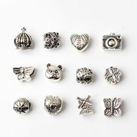 Wholesale diy metal jewelry resale online - 12PCS Mixed Style Beads Charms For Pandora DIY Jewelry European Bracelets Bangles Women Girls Best Gifts