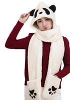 ingrosso animali tempo-Cappuccio da donna Panda Animal Winter 3 in 1 Caldo morbido peluche con cappuccio Cap Gloves Mitten Sciarpa Set Cold Weather Paraorecchie