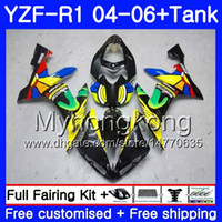 ingrosso yamaha yzf r1 giallo impermeabilizzazione-Carrozzeria + serbatoio per YAMAHA YZF R 1 YZF-1000 YZF 1000 arcobaleno giallo caldo YZFR1 04 05 06 232HM.9 YZF1000 YZF-R1 04 06 YZF R1 2004 2005 2006 Carenatura