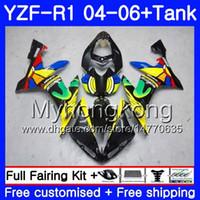 yamaha yzf carenado al por mayor-Cuerpo + tanque para YAMAHA YZF R 1 YZF-1000 YZF 1000 arco iris amarillo caliente YZFR1 04 05 06 232HM.9 YZF1000 YZF-R1 04 06 YZF R1 2004 2005 2006 Carenado