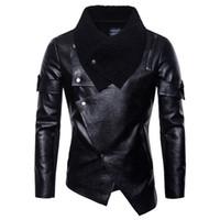 abrigos estilo punk chaquetas al por mayor-Otoño Invierno hombre punky del estilo de la PU de cuero de los hombres delgados chaqueta informal Negro irregular de la motocicleta capas de la chaqueta de cuero S-2XL